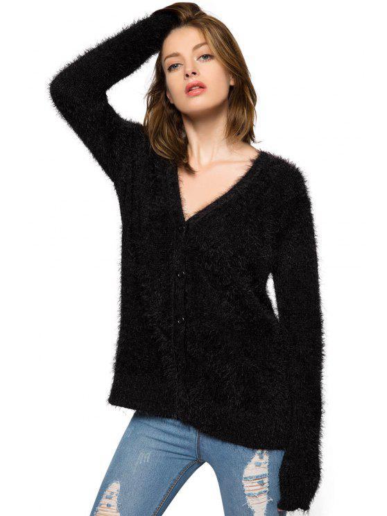 best Black Long Sleeve Mohair Cardigan - BLACK XL