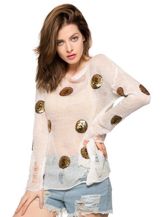 fancy Coin Pattern Broken Hole Sweater - WHITE M