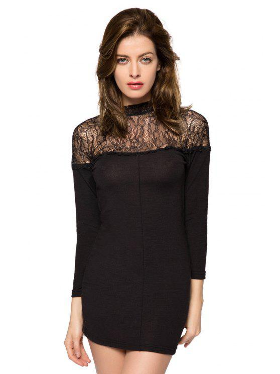 women 3/4 Sleeve Lace Splicing Dress - BLACK 2XL