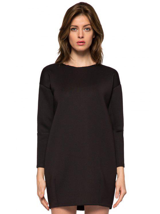 hot Black Round Collar Long Sleeve Dress - BLACK XS