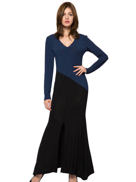 women's Color Block Nine-Minute Sleeve Dress - BLACK XS