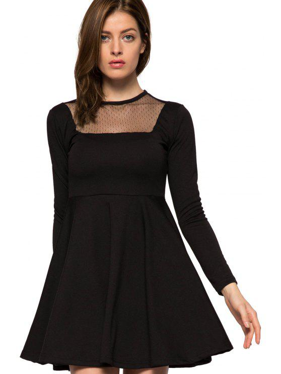 fancy Voile Splicing Black A-Line Dress - BLACK L