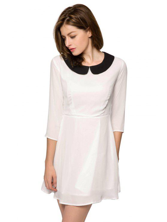 fashion Color Block 3/4 Sleeve Dress - WHITE 2XL