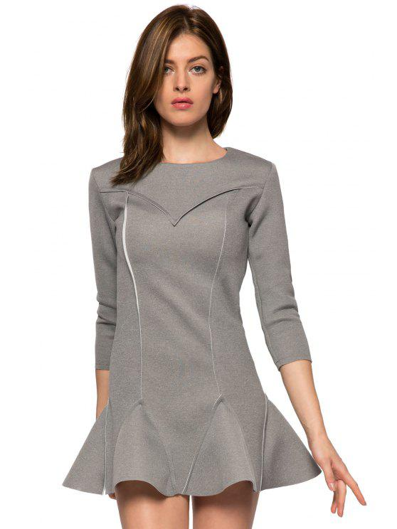 online Solid Color 3/4 Sleeve Splicing Dress - GRAY S