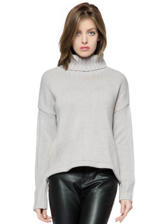 lady Turtle Collar Solid Color Sweater - GRAY M