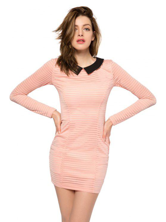 chic Striped Long Sleeve Color Block Dress - PINK XS