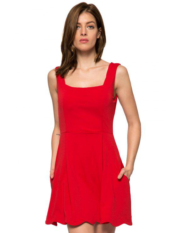 fashion Red Straps A-Line Sundress - RED L