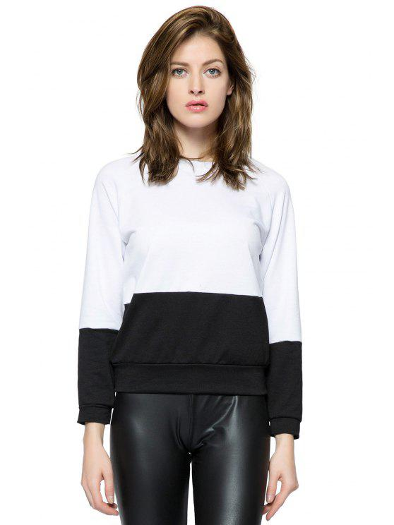 womens Long Sleeves Color Block Sweatshirt - WHITE AND BLACK XS