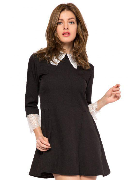 women Lace Splicing Turn-Down Collar Dress - BLACK 2XL