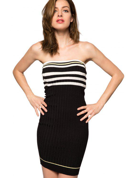 ladies Strapless Striped Sweater Dress - BLACK XS