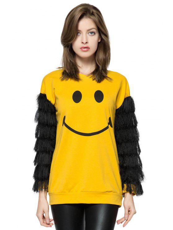 new Smile Print Fringe Long Sleeve Sweatshirt - YELLOW XS
