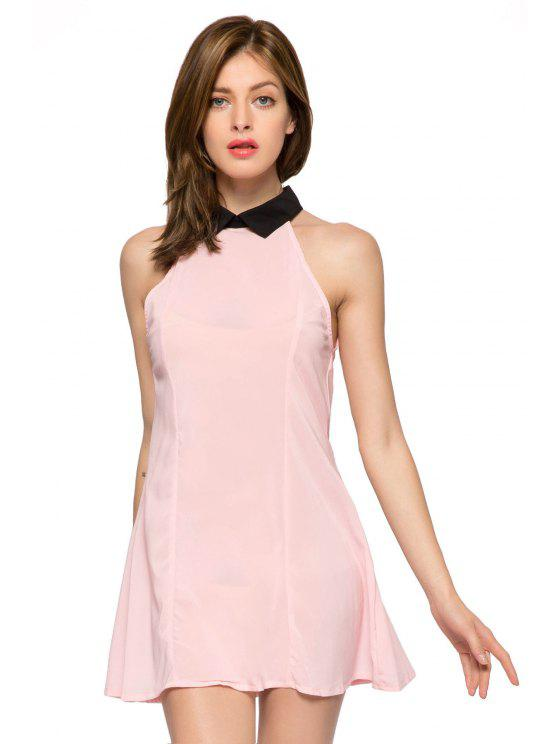 lady Flat Collar Color Block Dress - PINK L
