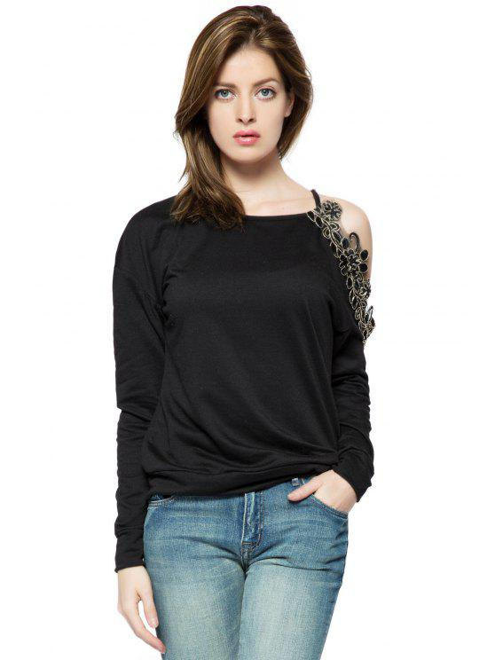 latest Embroidery Off-The-Shoulder Sweatshirt - BLACK XS