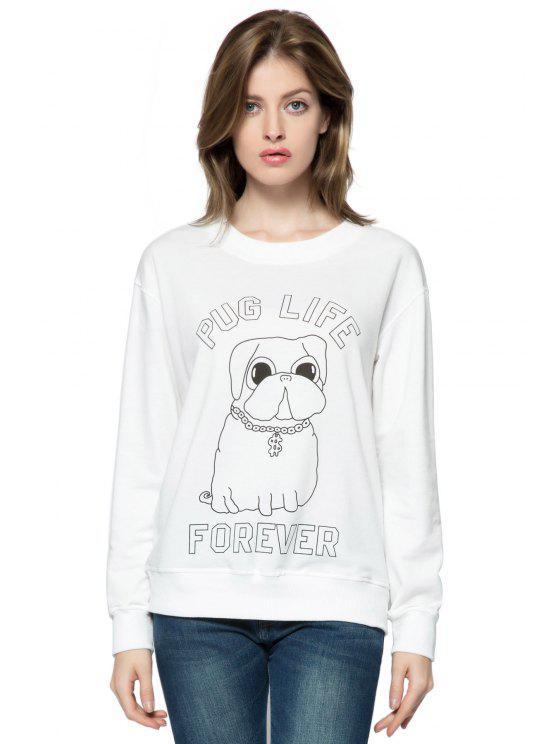 women Letter and Dog Print Sweatshirt - WHITE XL