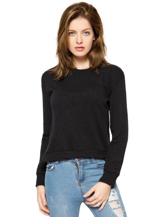 best Black Long Sleeve Zipper Sweatshirt - BLACK M