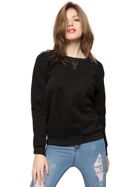 shop Black Long Sleeve Fringe Sweatshirt - BLACK M