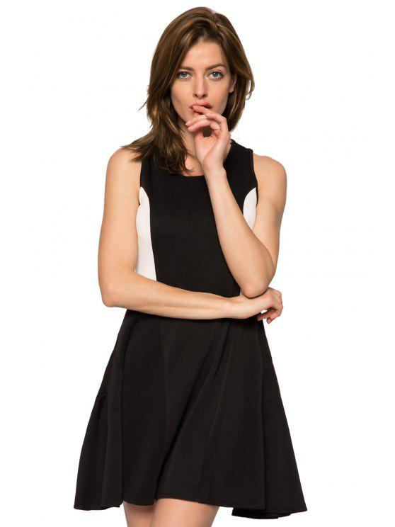 hot Color Block Jewel Neck Sundress - BLACK XS