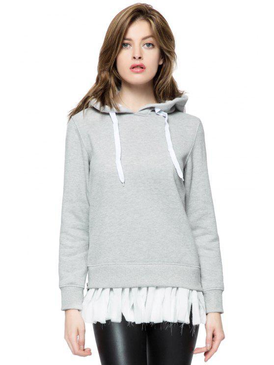shop Hooded Splicing Side Zipper Hoodie - GRAY XS