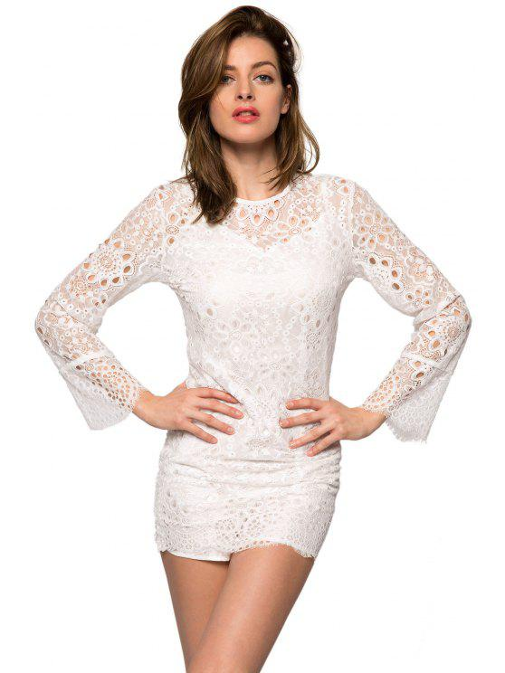 outfits Lace Hollow Out Long Sleeve Dress - WHITE XS