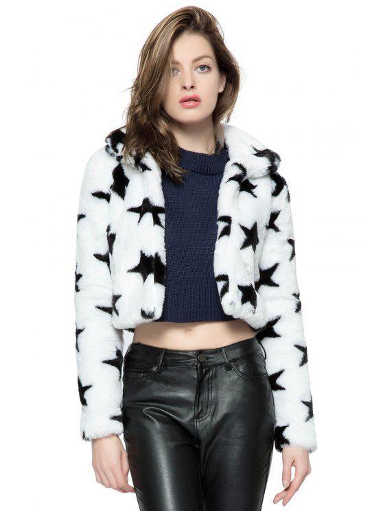 shop Star Pattern Faux Fur Jacket - WHITE XS