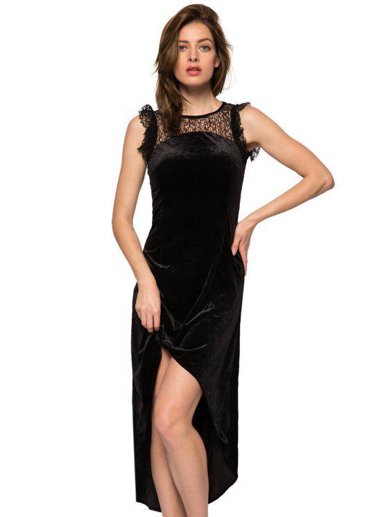 hot Lace Splicing High-low Hem Dress - BLACK XS
