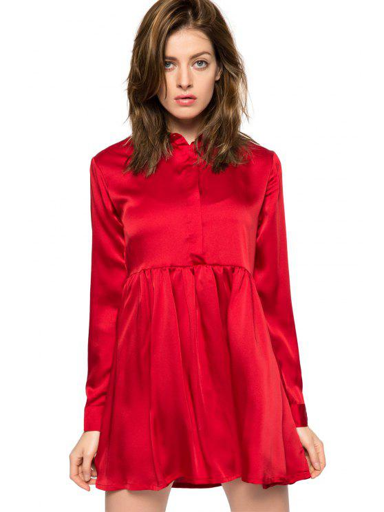 latest Red Turn-Down Collar Breasted Dress - RED XS