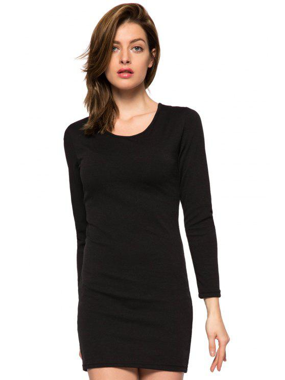 new Black Long Sleeve Hollow Dress - BLACK S