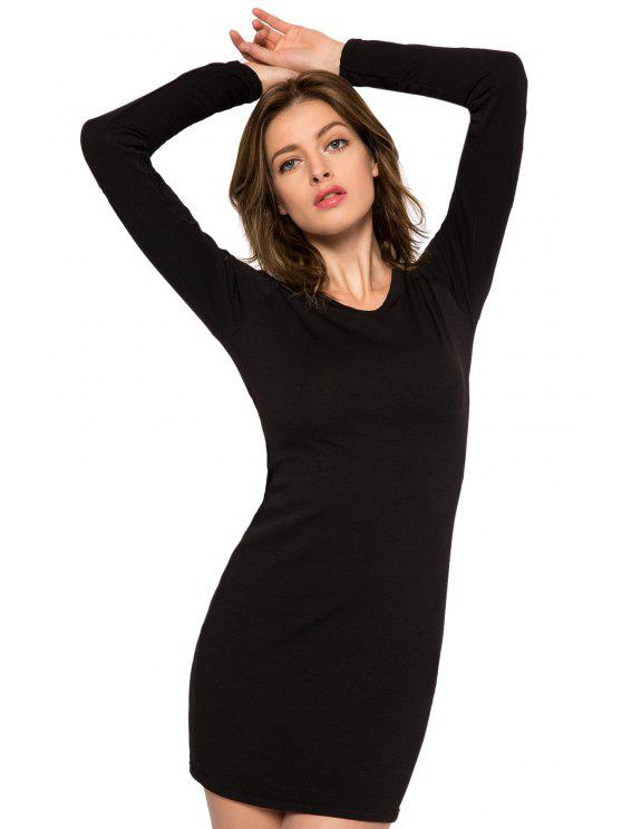 hot Black Embroidery Voile Splicing Dress - BLACK XS