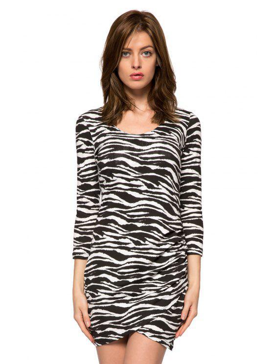 lady Zebra Striped 3/4 Sleeve Dress - WHITE AND BLACK XS
