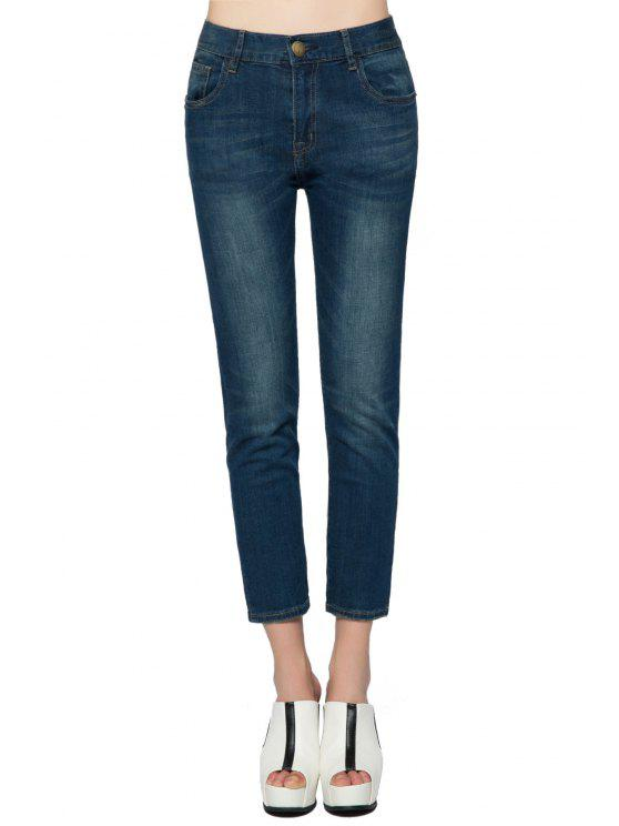 fancy Straight Leg Bleach Wash Jeans - DEEP BLUE 23