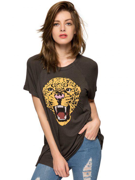 fancy Leopard Pattern Short Sleeve T-Shirt - BLACK XS