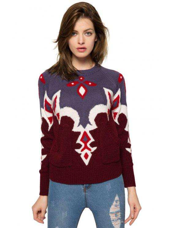 outfits Geometric Pattern Double Pocket Sweater - COLORMIX S