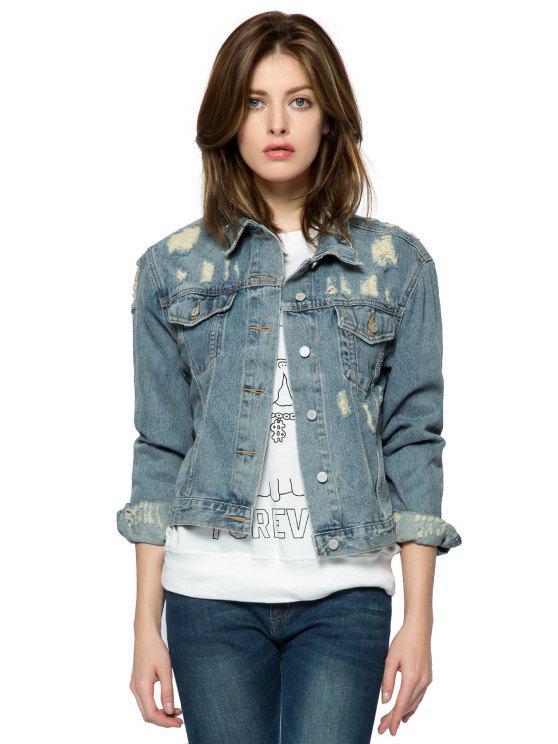 women's Broken Hole Denim Jacket - BLUE XS