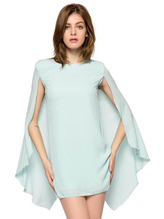 lady Solid Color Cloak Design Dress - LIGHT GREEN S