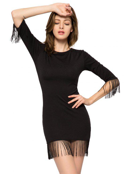 buy Black Fringe 3/4 Sleeve Dress - BLACK L