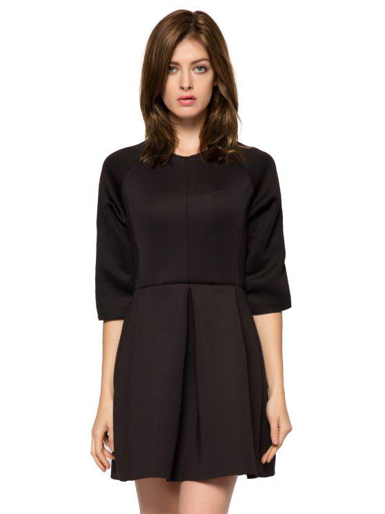 ladies Solid Color 3/4 Sleeve A-Line Dress - BLACK XL