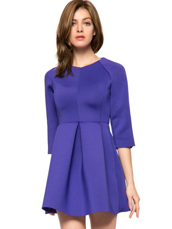 shop Solid Color 3/4 Sleeve A-Line Dress - PURPLE L