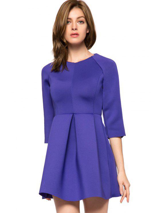 shop Solid Color 3/4 Sleeve A-Line Dress - PURPLE L