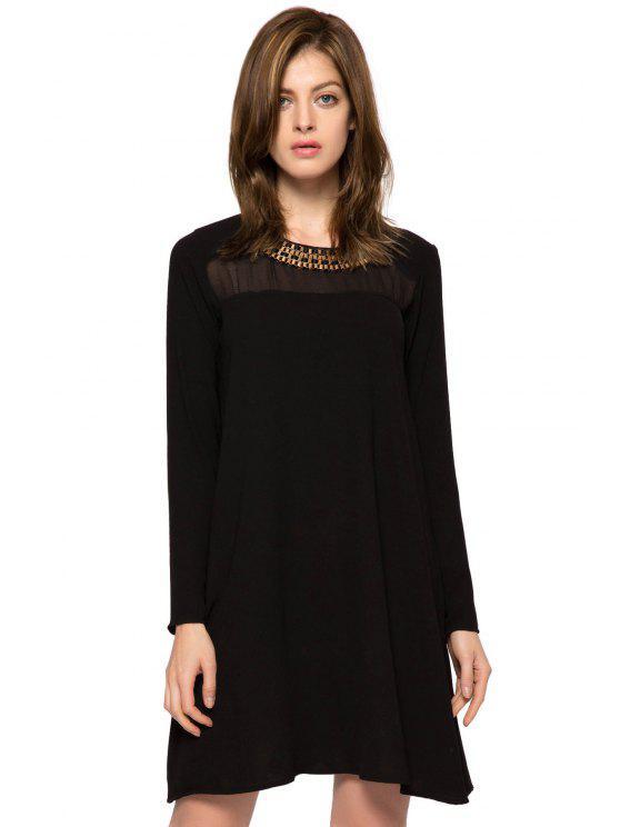outfit Long Sleeve Metal Embellished Dress - BLACK 2XL