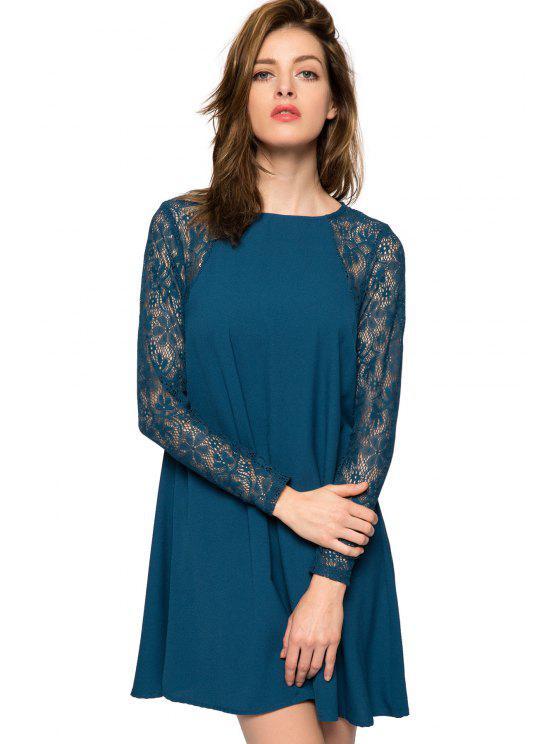women Lace Splicing Long Sleeve Dress - BLUE XS