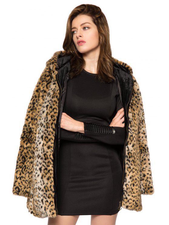 Leopard Print Hooded Faux Fur Coat LEOPARD: Jackets & Coats XS | ZAFUL