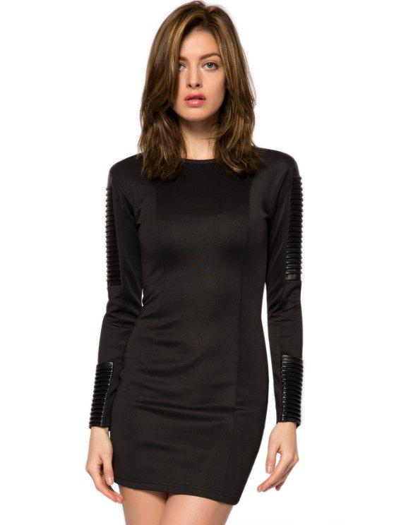 outfit PU Leather Splicing Bodycon Dress - BLACK XS