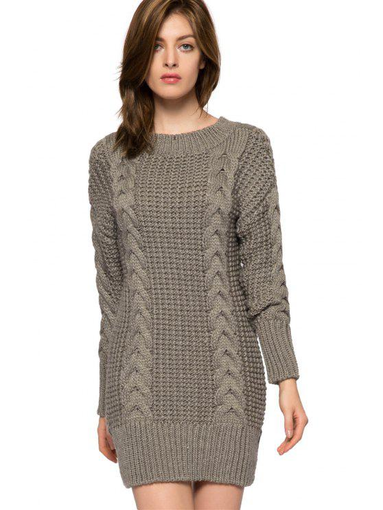2018 Solid Color Cable Knit Sweater Dress In Gray S Zaful