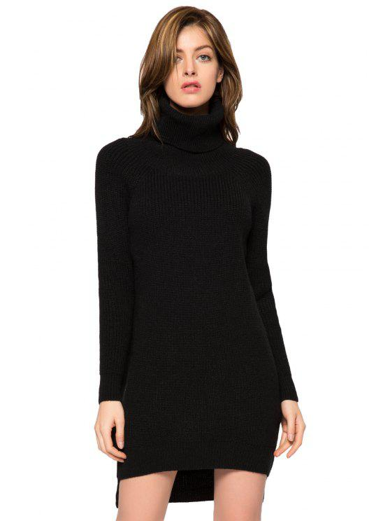 women Black Turtle Neck High-Low Hem Sweater - BLACK L