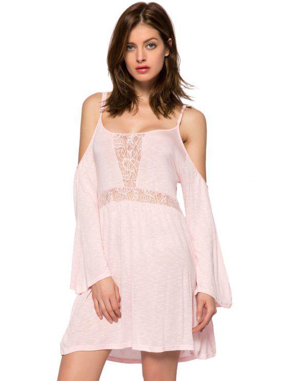 shop Lace Splicing Spaghetti Straps Dress - PINK XS
