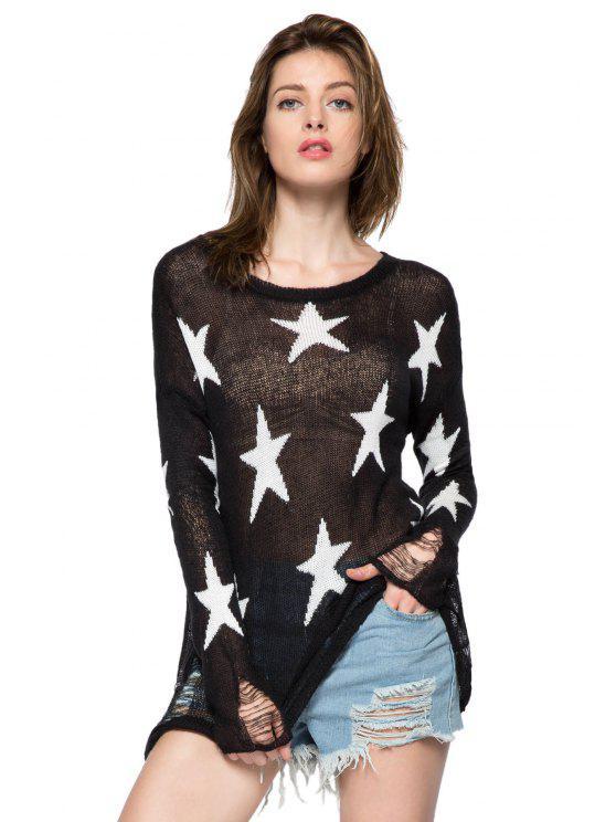 ladies Star Pattern Broken Hole Knitwear - BLACK S