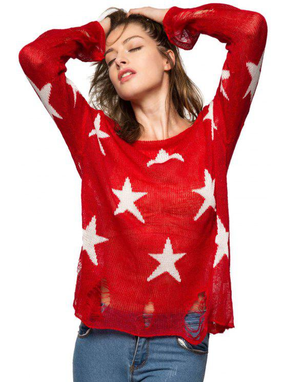 online Star Pattern Broken Hole Knitwear - RED M