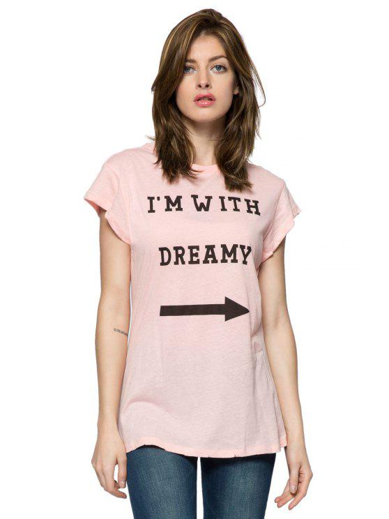 new Letter Arrow Print Short Sleeve T-Shirt - PINK XS