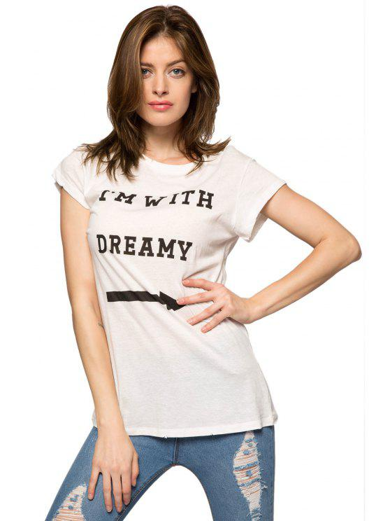 outfits Letter Arrow Print Short Sleeve T-Shirt - WHITE XS