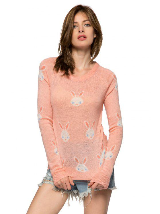 women Rabbit Pattern Long Sleeve Sweater - PINK S